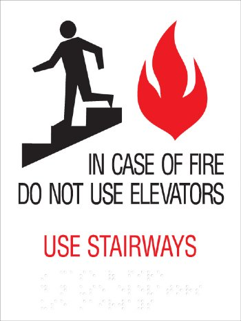 Braille Elevator In Case Of Fire Signage