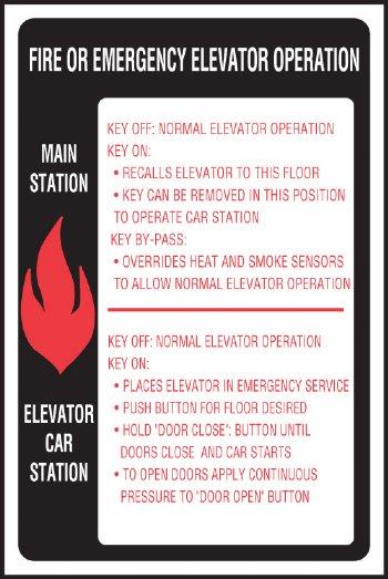 Elevator Fire Amp Emergency Signage